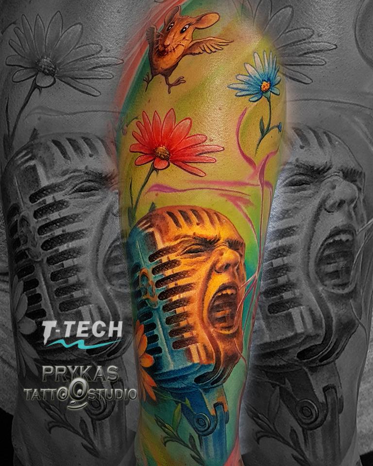 5 mikrofon muzyka kolorowy rękaw